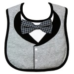 Frenchie Mini Couture - Gray Tuxedo Bib with 3D Bowtie - Sample Stock