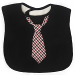 Frenchie Mini Couture - Black Bib with Plaid Tie - Sample Stock