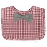 Frenchie Mini Couture - Red Gingham Bib with Chambray Bowtie - Sample Stock