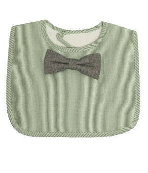 Frenchie Mini Couture - Green Stripe Bib with Chambray Tie - Sample Stock