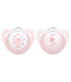 NUK Baby Rose & Blue Silicone Soother - 2 pack