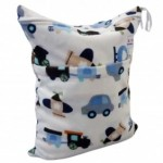 Alva Minky Planes & Trains Double Zippered Wetbag
