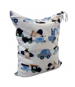 Minky Planes&Trains Double Zippered Wetbag