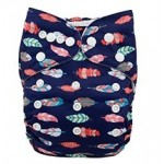Blue Feathers OSFM Pocket Nappy